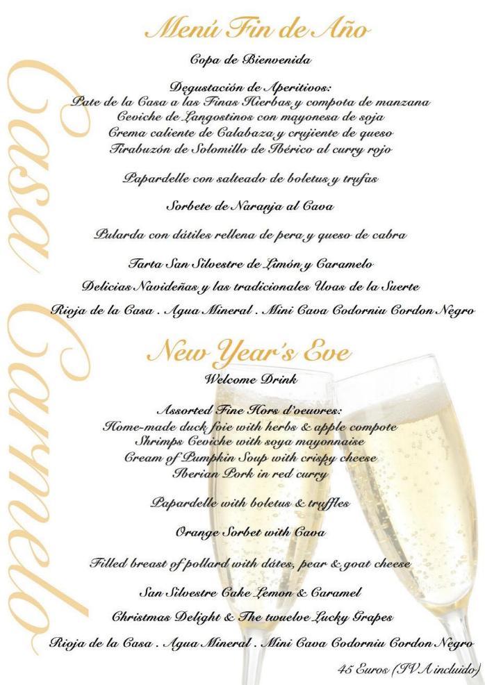 New year 39 s eve menu in seville 2015 - Casa para fin de ano malaga ...